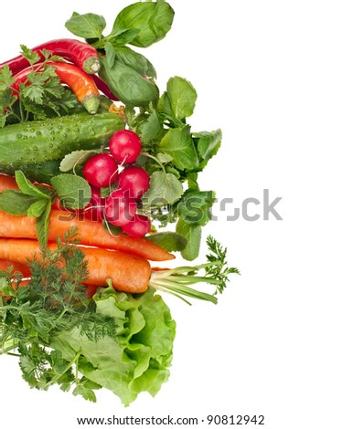 fresh vegetable isolated on white background - stock photo