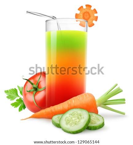Fresh vegetable juice isolated on white - stock photo