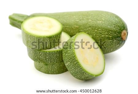 fresh vegetable marrow on a white background - stock photo