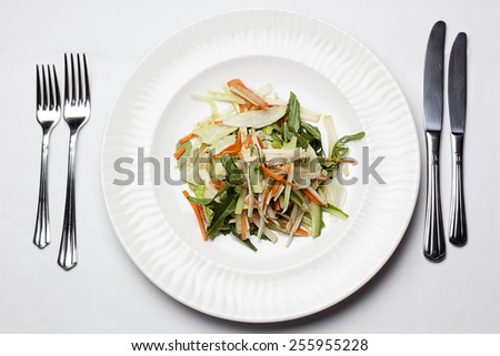 Fresh vegetable mix salad with arugula, carrots, cucumber with with fork and knife. - stock photo