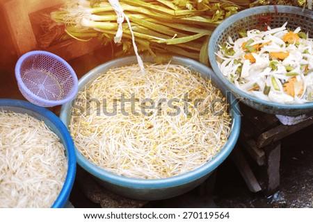 Fresh vegetable on traditional street market in Sapa, Vietnam. - stock photo