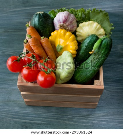 Fresh vegetable on wooden background