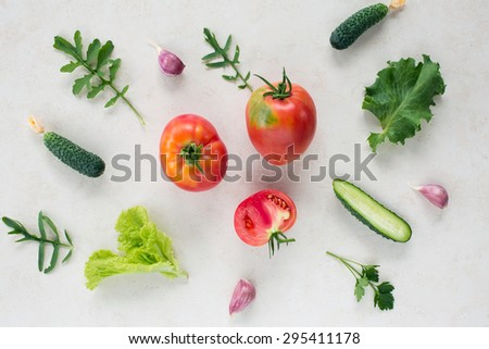 Fresh vegetable pattern top view
