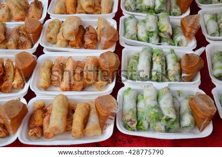 Fresh Vegetable Rice Sheet Roll or Spring rolls with vegetables laos style at local night market in Luang Prabang, Laos - stock photo