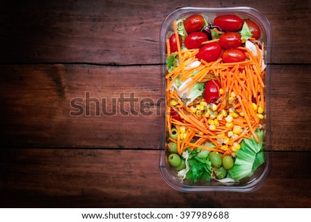 Fresh vegetable salad / healthy food with copy space for text / Healthy lifestyle concept  - stock photo