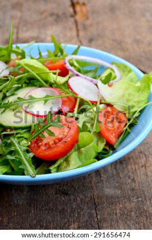 fresh vegetable salad in a bowl - stock photo