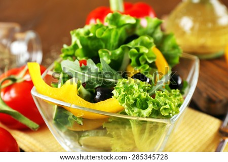 fresh vegetable salad in bowl on table close up - stock photo