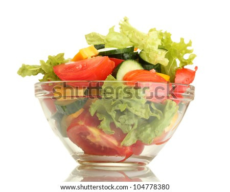 fresh vegetable salad in transparent bowl isolated on white - stock photo