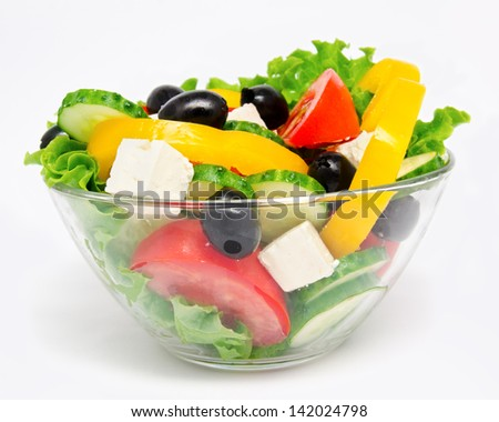 Fresh vegetable salad isolated on a white - stock photo