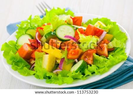fresh vegetable salad on plate - stock photo