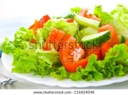 fresh vegetable salad on plate - stock photo