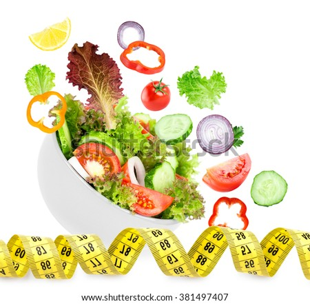 Fresh vegetable salad on white background. Diet concept. Healthy food