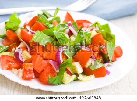 fresh vegetable salad with basil