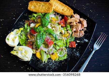 Fresh vegetable salad with bread, tuna and fennel on dark wooden background. Italian cuisine. Healthy food. - stock photo
