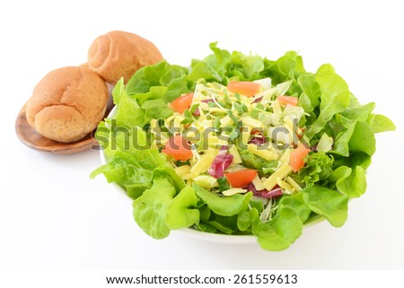 Fresh vegetable salad with breads