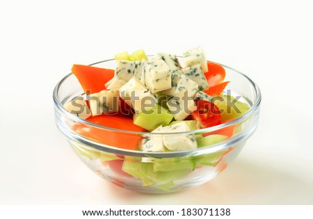 Fresh vegetable salad with diced blue cheese