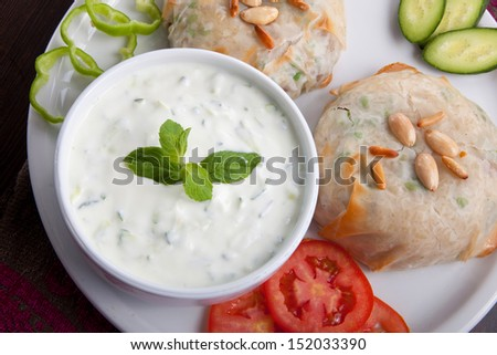 Fresh Vegetable Sandwich with nuts, tomato and white sauce