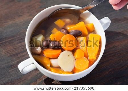 Fresh vegetable soup  - stock photo