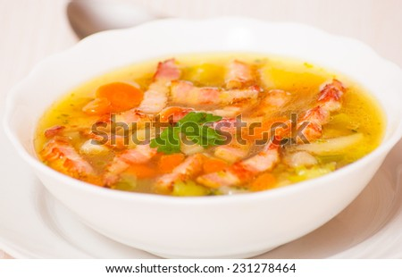 Fresh vegetable soup with meat - stock photo