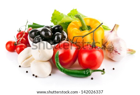 fresh vegetable with italian cheese mozzarella isolated on white background