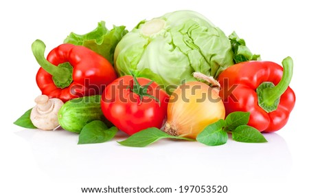 Fresh vegetable with leaves isolated on a white background - stock photo