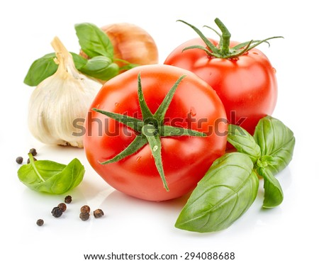 fresh vegetables and basil leaf isolated on white background - stock photo