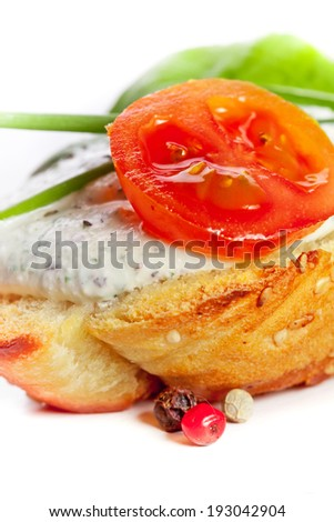 Fresh vegetables and bruschetta sandwiches with cottage cheese