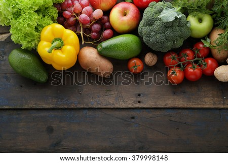 fresh vegetables and copy-space, food top view - stock photo