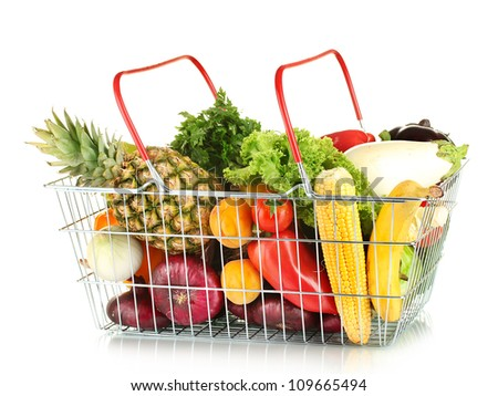 Fresh vegetables and fruit in metal basket isolated on white background - stock photo