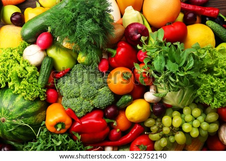 Fresh vegetables and fruits background - stock photo