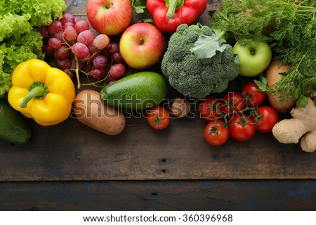 fresh vegetables and fruits background, food top view - stock photo