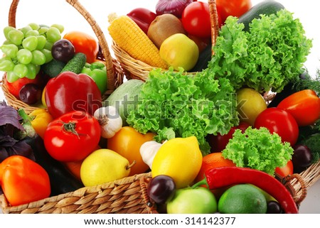 Fresh vegetables and fruits, closeup