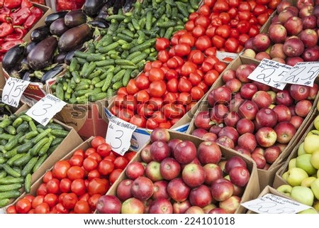 Fresh vegetables and fruits for sale in a market - stock photo