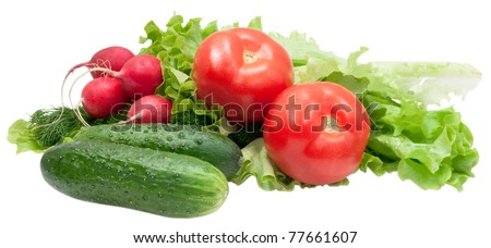 fresh vegetables and greenage isolated on white background - stock photo
