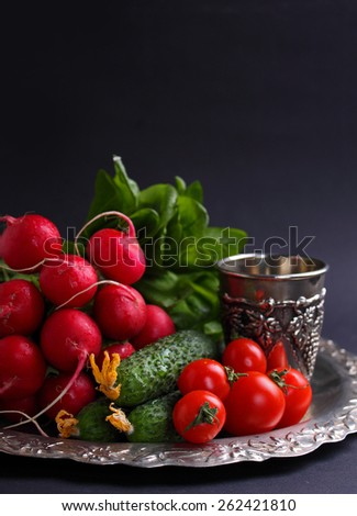 fresh vegetables and greens (cucumber, radish, tomato, lettuce, spinach) on the metal tray on a black background - stock photo