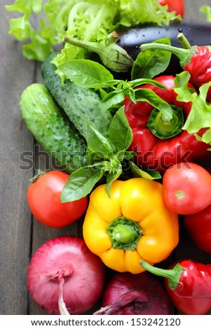 fresh vegetables and greens on the boards, food close up - stock photo
