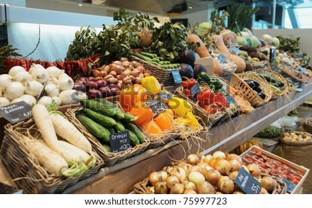 Fresh vegetables and groceries - stock photo