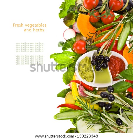 fresh vegetables and herbs and cooking sauces in white bowls isolated on a white background with sample text - stock photo