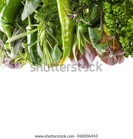 fresh vegetables and herbs  isolated on a white background - stock photo