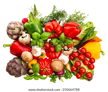 fresh vegetables and herbs isolated on white background. healthy food ingredients - stock photo