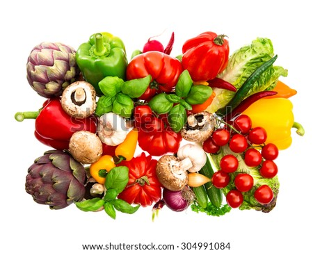 Fresh vegetables and herbs isolated on white background. Raw food. tomato, paprika, artichoke, mushrooms, cucumber, green salad, basil
