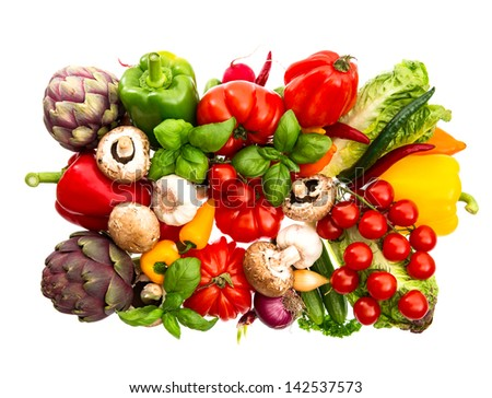 fresh vegetables and herbs isolated on white. food background. tomato, paprika, artichoke, mushrooms; cucumber, green salad, basil