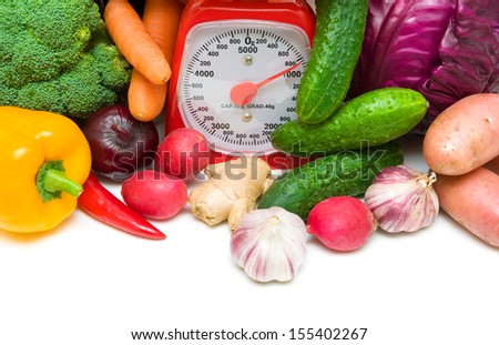 fresh vegetables and kitchen scales close-up. horizontal photo