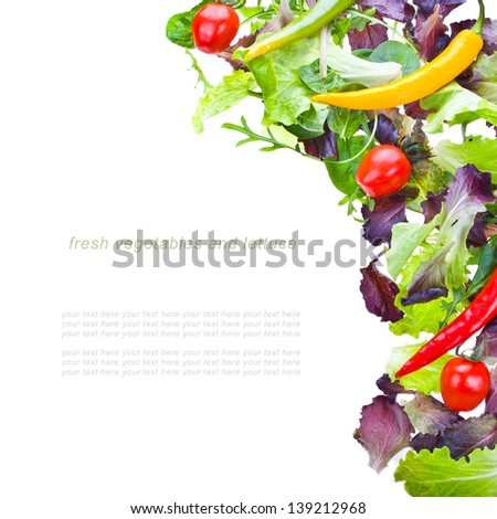 fresh vegetables and lettuce isolated on a white background with sample text - stock photo