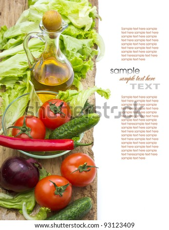 fresh vegetables and oil still life isolated - stock photo