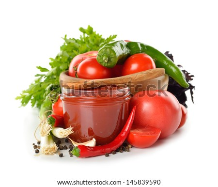 Fresh vegetables and tomato sauce isolated on white background
