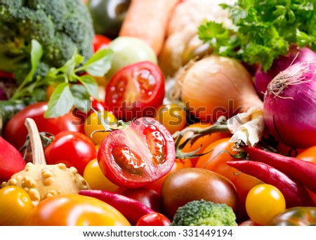 fresh vegetables as background - stock photo
