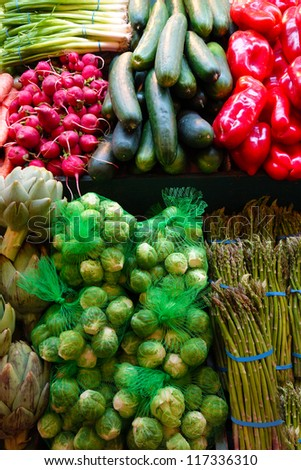 Fresh vegetables at the farmers market - stock photo
