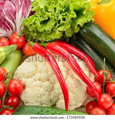 fresh vegetables background                                     - stock photo