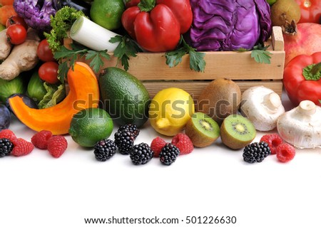 Fresh vegetables, berry and fruit .
